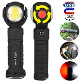 360¡ã Rotation Inspection Lamp Rechargeable Magnetic LED + COB Torch Flexible Work Light for Outdoor Camping Car Truck