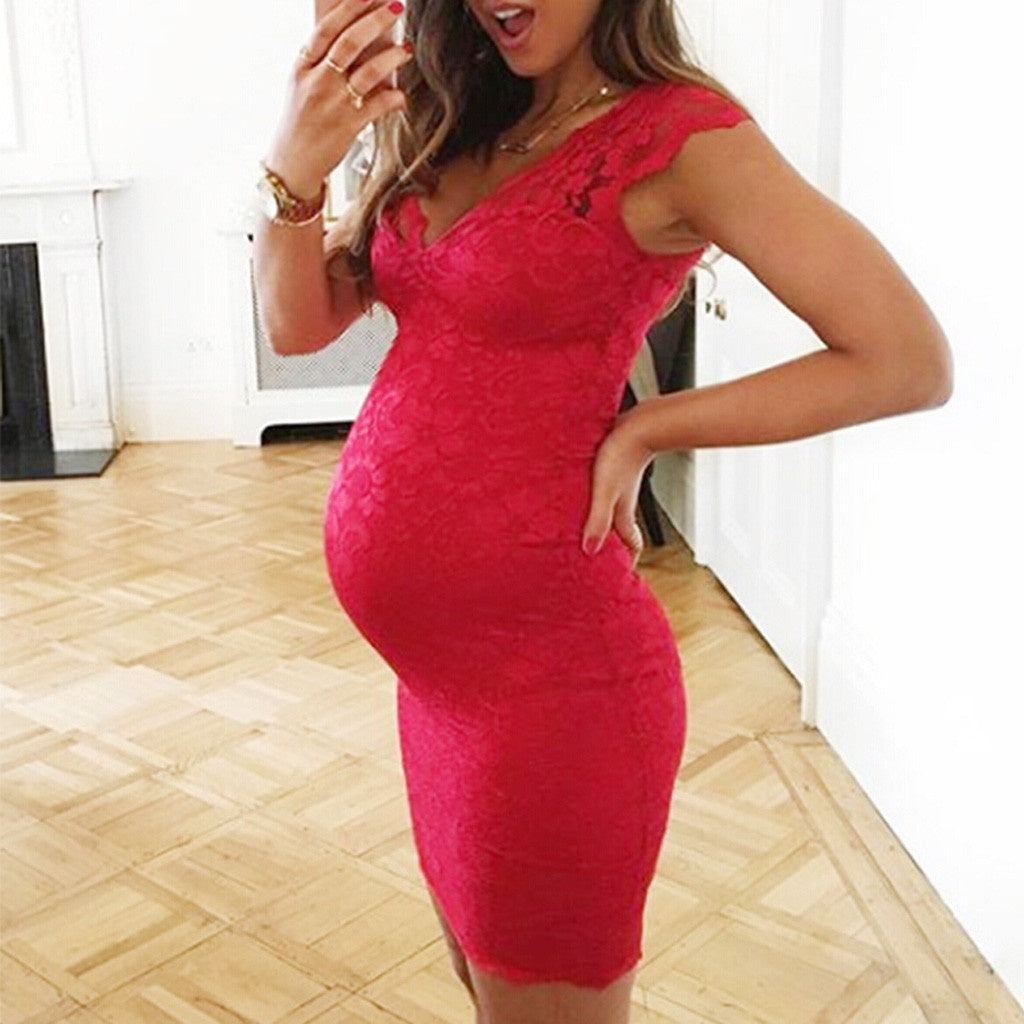Fashion Women's V-Neck Maternity Pregnancy Sleeveless Summer Lace Sexy Dress