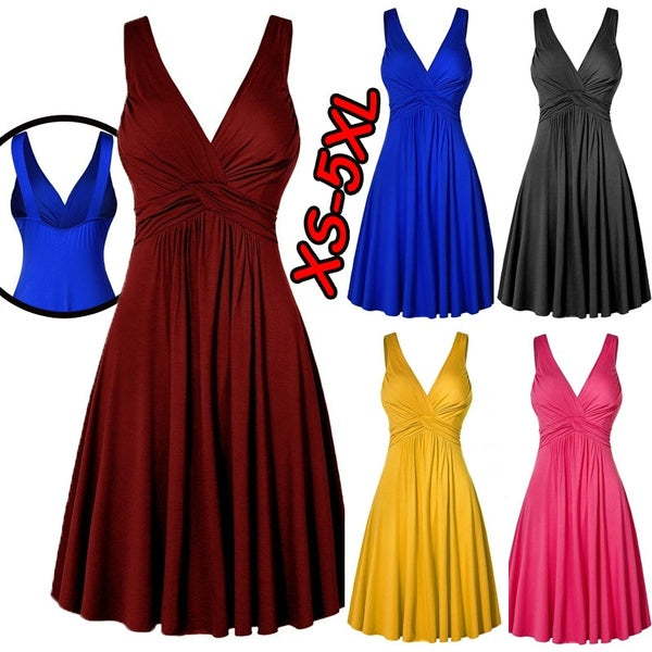 Womens Deep V-neck Dresses Sleeveless Elegant Dress Knee Length Backless Evening Dresses Casual Pure Color Pleated Dress (XS-5XL)