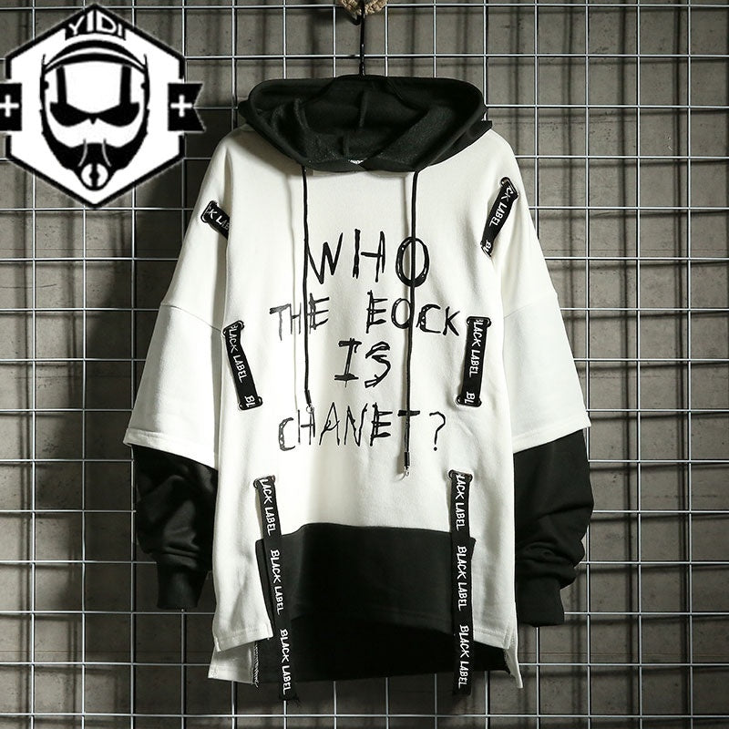 2020 New Fashion Men's Street Style Hoodie Streetwear Hip Hop Hoodie Japanese Fashion Cool False Two Pieces Hoodie Autumn Winter Funny Tracksuit