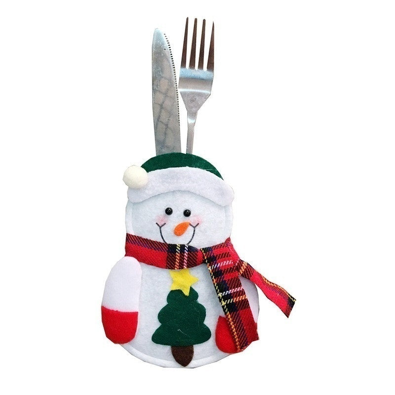 3Pcs Cute Christmas Decoration Cutlery Bag Table Decoration Santa Claus Snowman Elk Kitchen Tableware Holder Pocket Meal Bag Cutlery Bag