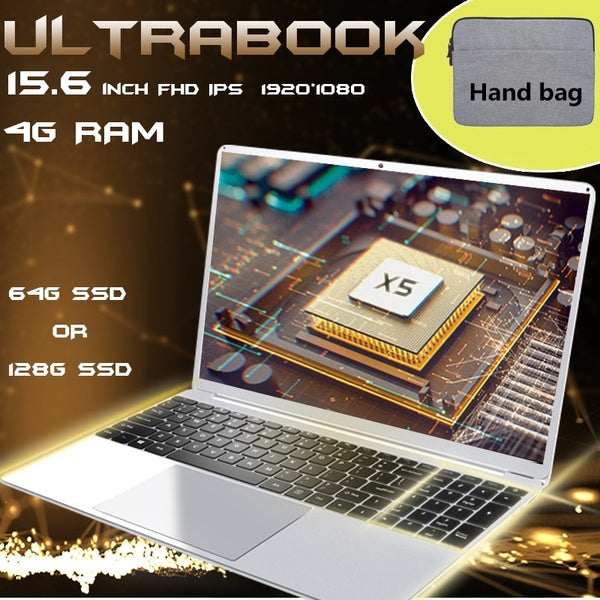 Ultra-thin 15.6inch FHD IPS Screen Ultrabook Full Big Size Keyboard E8000 Quad Core LAPTOP 4GB RAM 64GB/128GB SSD PC Notebook
