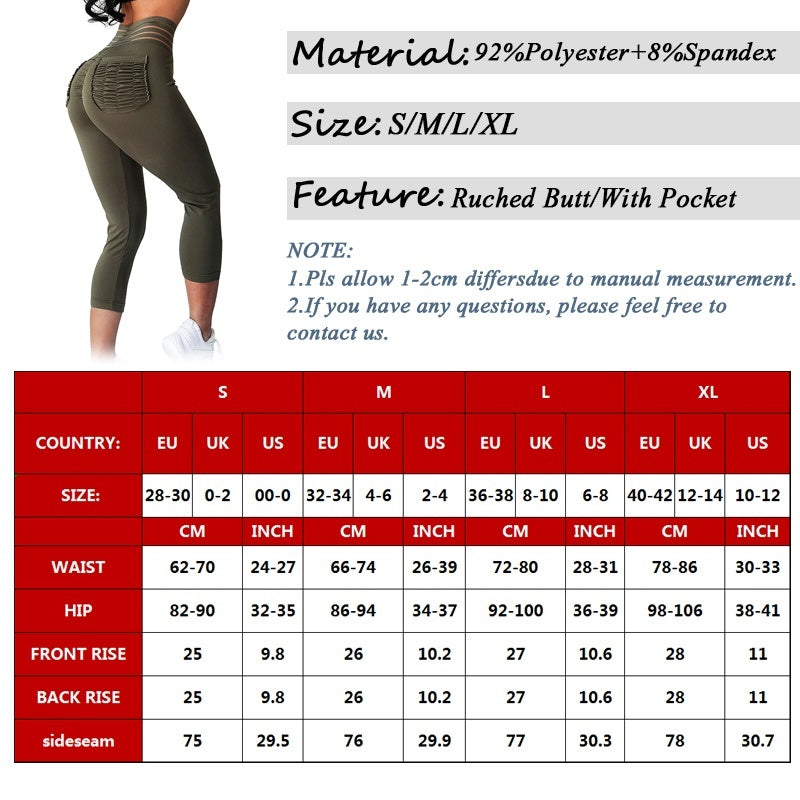 Women's Push Up Capri Yoga Pants Ruched 3/4 Leggings Sports Fitness Gym Trousers