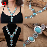 Stylish vintage lady turquoise necklace stud set
