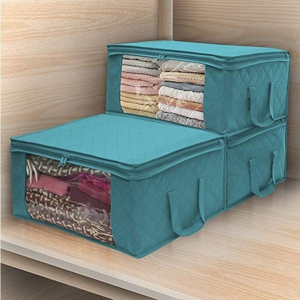 1/2/3Pcs Foldable Anti-dust Organizer Storage Bags High Capacity Portable Wardrobe Organizer Storage Box Home Supplies