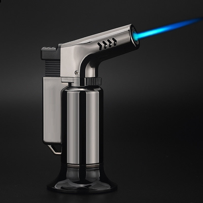 Outdoor BBQ Lighter Cigar Torch Turbo Lighter Jet Butane Gas Cigarette 1300 C Spray Gun Windproof Metal Pipe Lighter For Kitchen (No Gas)