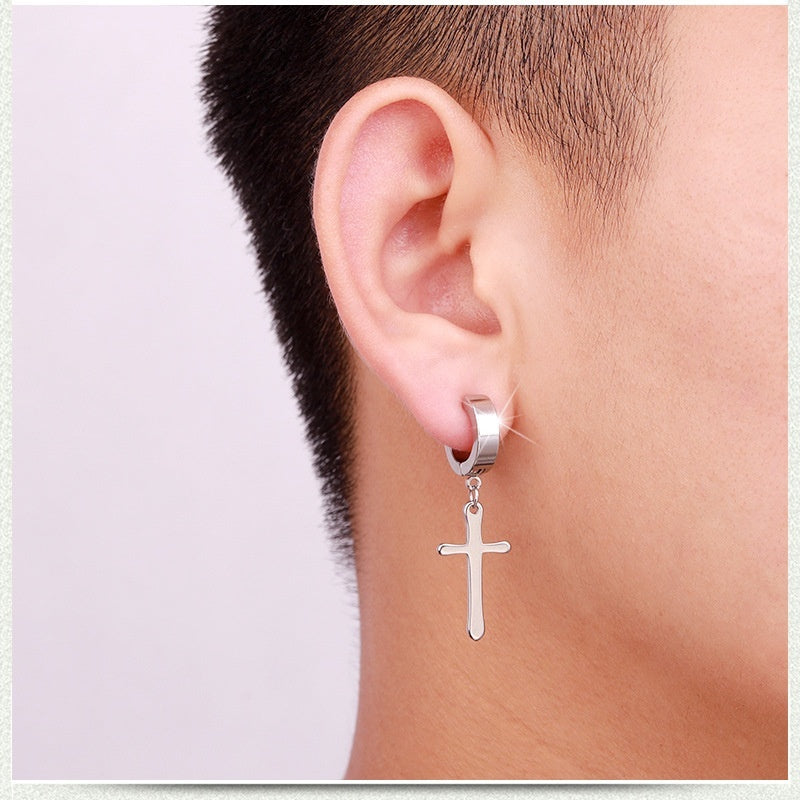 Titanium steel earclip for men     Stainless steel earclip for women    Men ear clip,Women ear clip   Cross earclip