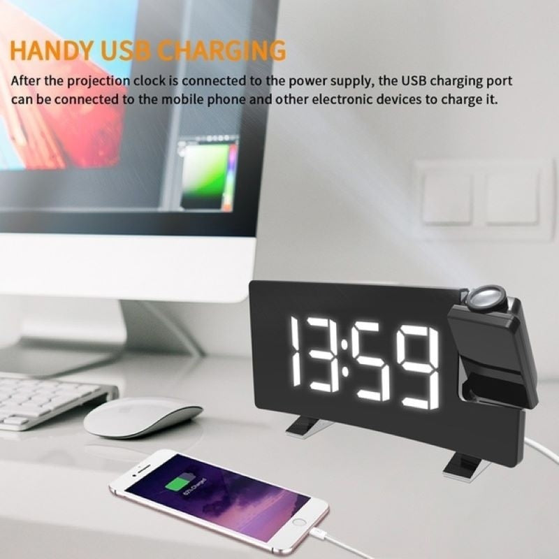 Newest Multifuctional Projection Clock FM Radio Alarm Clock With USB Charging Port