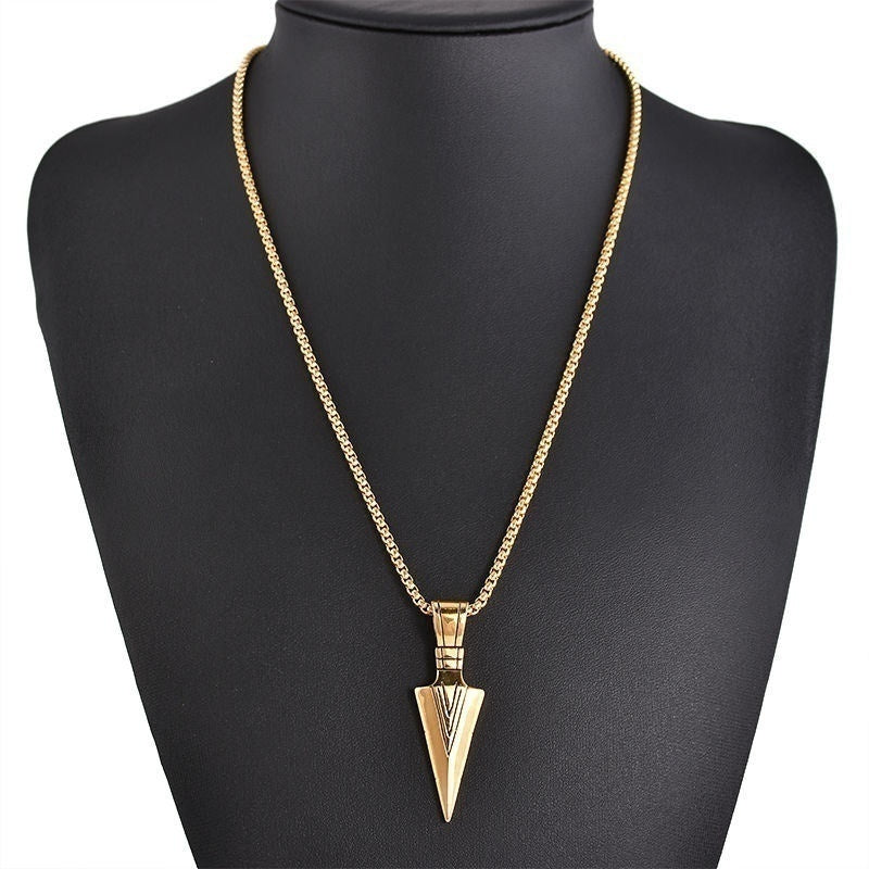 Mens Fashion Jewelry Gold Silver Arrow Head Pendant Long Chain Necklace