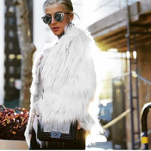 ILF Women Fur Jacket Warm Faux Fox Coat Tops Casual Outwear Overcoat ParkaFur Coat