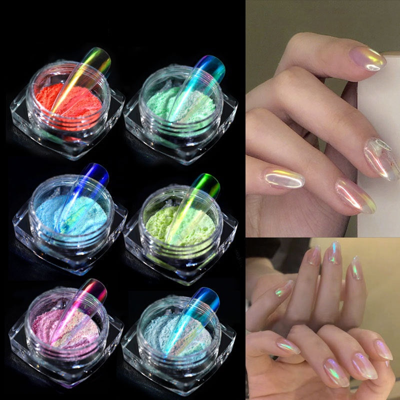 Ice Aurora Nail Powder Magic Candy Color Nails Pigments Mermaid Chrome Nails Mirror Chameleon Nail Glitter Powder Manicure Nail Art Decoration