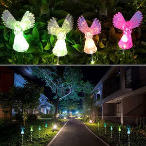 1 / 2 Pack Outdoor Garden Light Angel Stake Lights Lawn LED Solar Smart Garden Xmas Party Decor Lamp