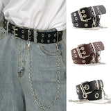 Women Punk Chain Fashion Belt Adjustable Double/Single Row Hole Eyelet Waistband with Eyelet Chain Decorative Belts