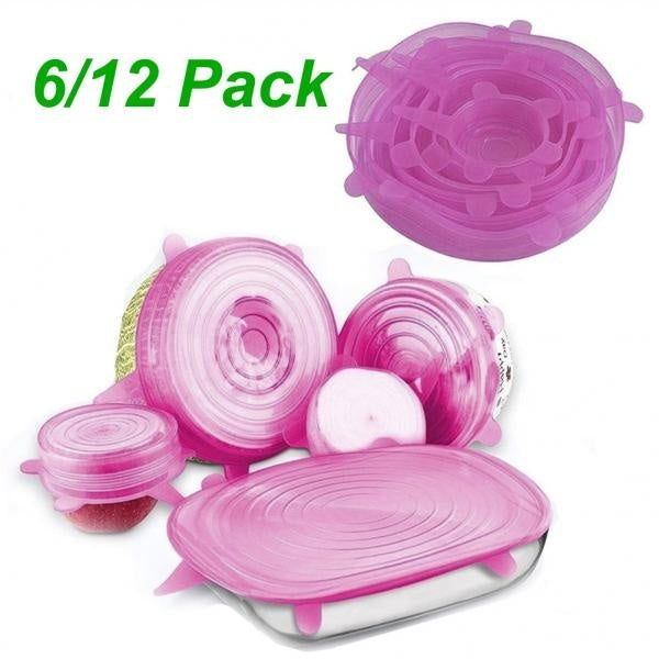 6Pcs/12Pcs Reusable Silicone Stretched Food Lids Cookware Cap Vacuum Sealed Fresh Cover