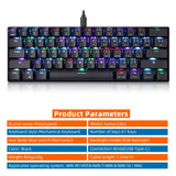 Motospeed CK61 Wired 61 Key Mechanical Gaming Keyboard RGB Backlight Blue switch Red switch for laptop computer