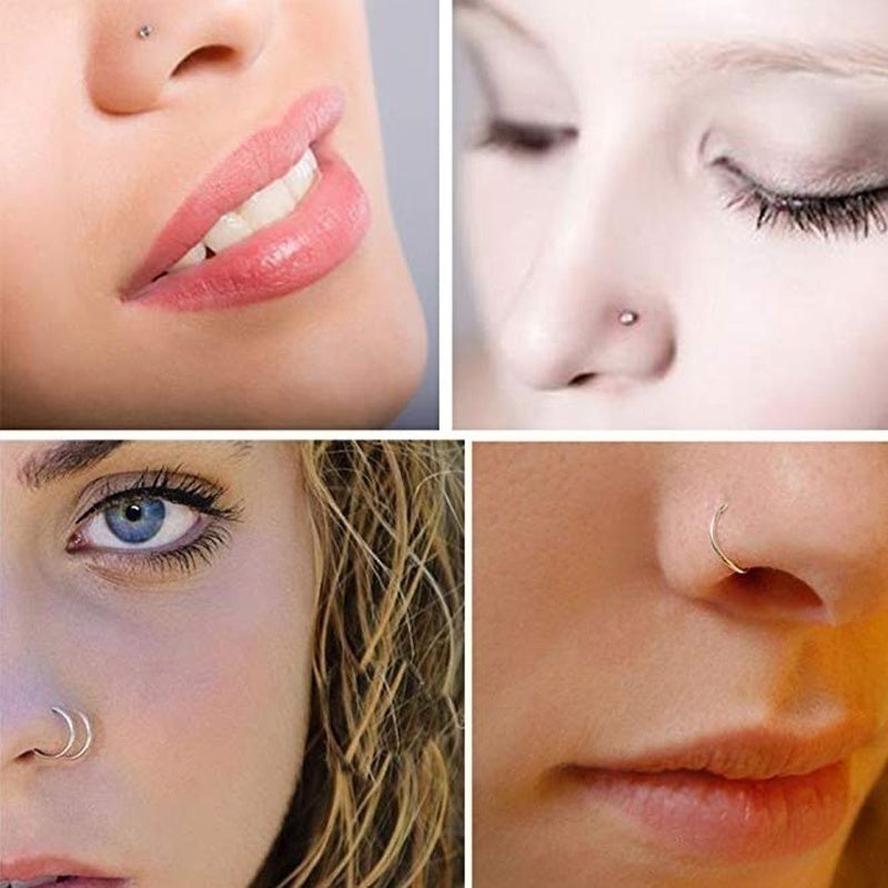 14/20/22pcs/lot Mixed Nose Ring Set Nose Studs Women Girl Colorful Crystal Stainless Steel