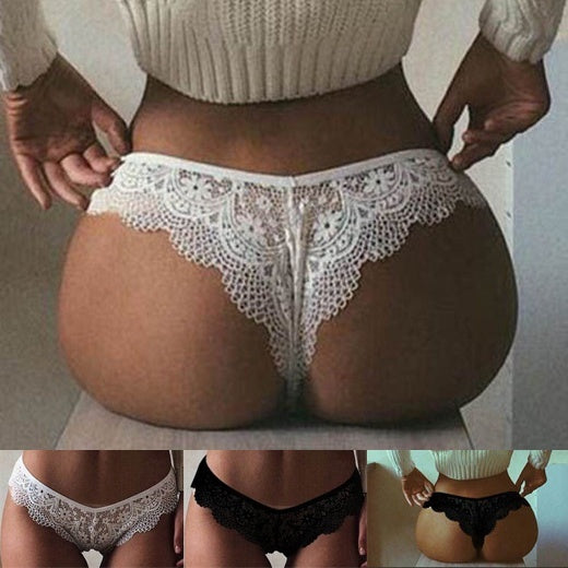 Comfortable Lace Hollow Pants Sexy Appeal Panties Breathable Seamless Briefs Thong Underwear for Women Size S To 2XL