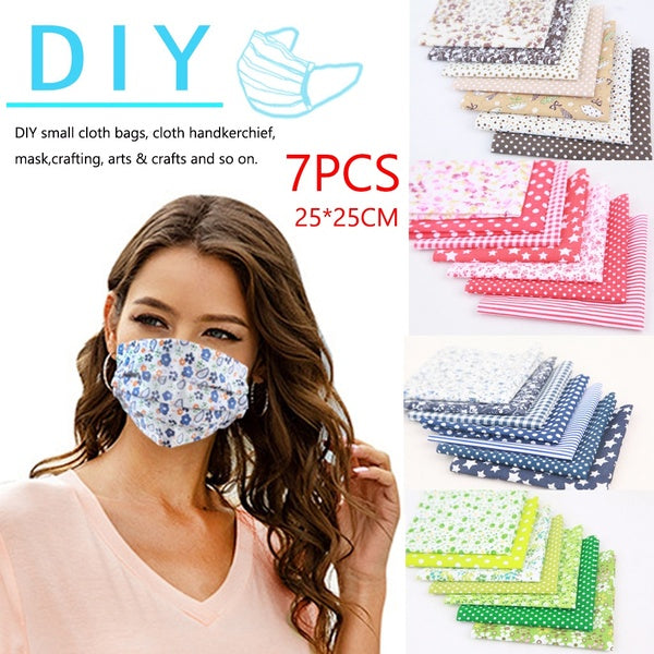 7Pcs 25x25cm Mask Making Accessories DIY Handmade Quilting Fabrics for Patchwork Printed Cotton Fabric Cloth Sewing