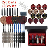 3/12 Pack Keel Design Nonslip Iron Barrel Steel Tip Darts Set with Aluminum Dart Shafts 4 Style Flights + Free Darts Sharpener in Beautiful Gift Box