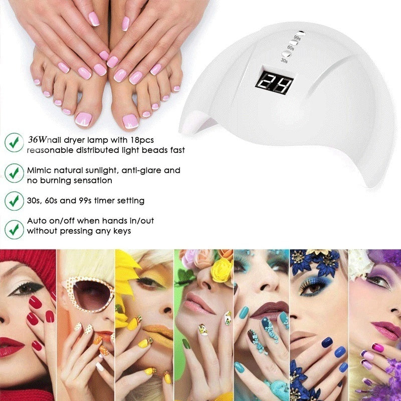 36W/6W LED/UV Lamp Nail Polish Dryer 3 Gear Timing Smart Induction Nail Dryer Lamp
