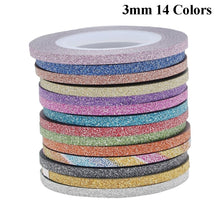 Load image into Gallery viewer, 14 Colors/Gold&Silver Set Beauty Matting DIY Rolls Decoration 1/2/3mm Tape Stickers Nail Art Striping Line