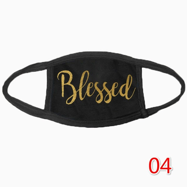 Unisex Fahsion Christian Printed Cotton Face Masks Black Washable Mask Blessed Faith Mask No Touching Social Distancing Mask for Women and Men