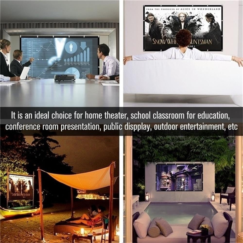 Portable 4K Foldable Projector Screen For Home Theater Cinema Indoor Outdoor Front And Rear Projection 50/60/72/84/100/120 Inch