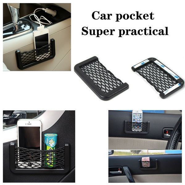 Super practical   1pcs Car Carrying Black Bag For Volkswagen Audi Toyota Ford Honda Mercedes-Benz Car Styling Accessories This is a mobile phone woven bag installed inside the car