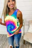 4 Colors NEW Women Fashion Tie Dye Sleeveless Tops Summer Casual Round Collar Pullover T Shirt Cotton Blouses Plus Size XS~5XL