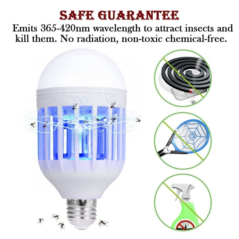 3 Pack 2in1 Mosquitoes killer Fly Bug Zapper Outdoor Indoor 15W LED Light Bulb Lamp(e26/e27)