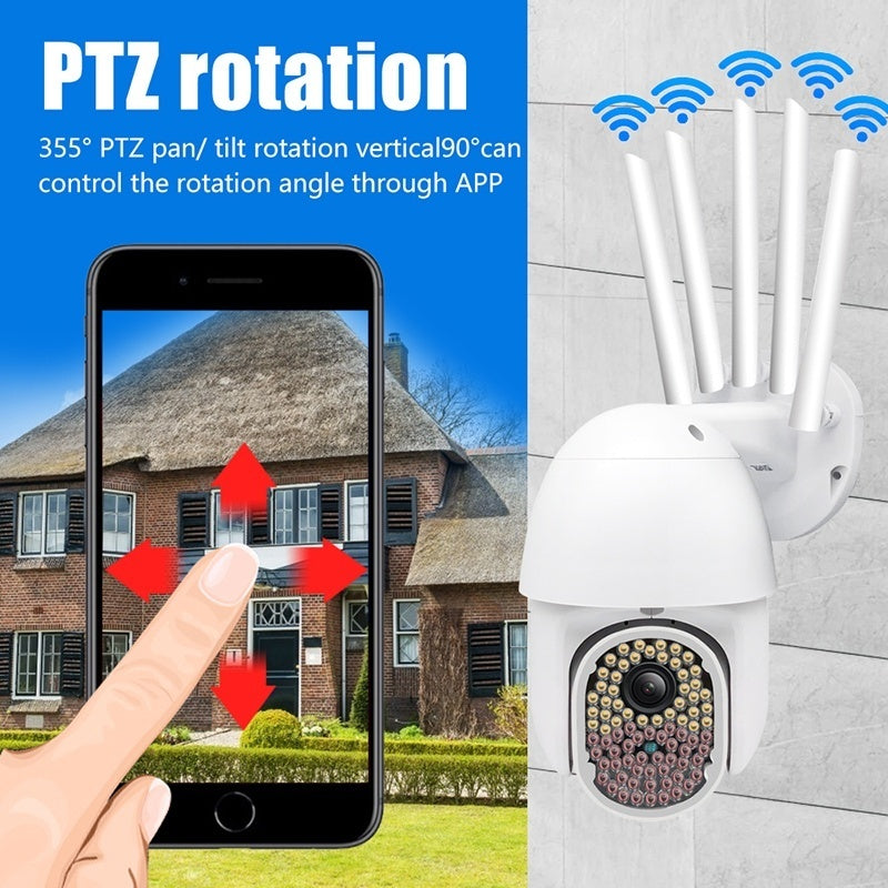 [83LEDs, 200W Pixel] 5x 5DB Antennas IP Camera Onvif WiFi 5MP Full Color Night Vision 1080P Speed Dome CCTV PTZ Outdoor camera surveillance NetCam (10/83LED)