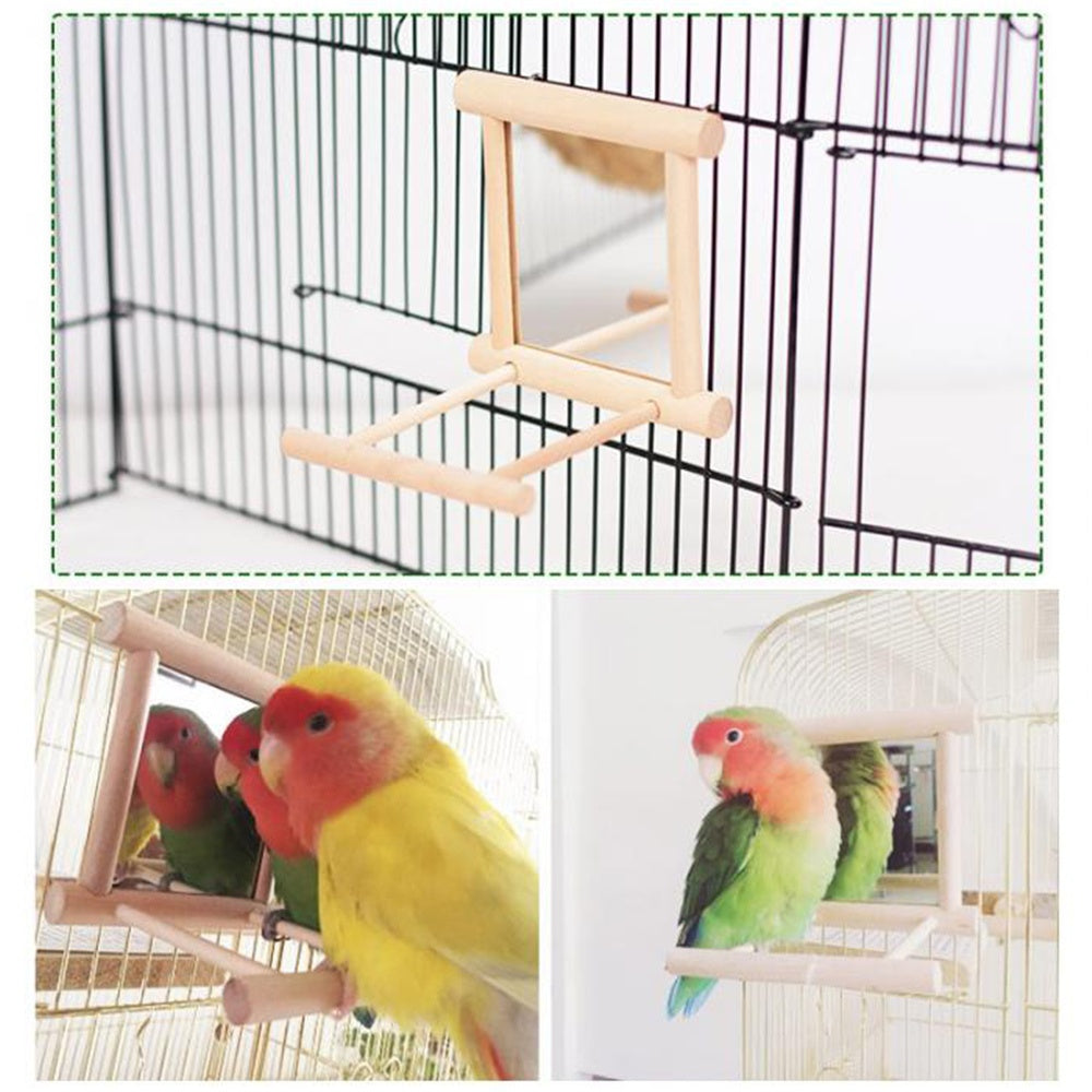 Bird Swing Parrot Cage Toys Hanging Play With Mirror For Small Parakeets Conures Wooden Durable