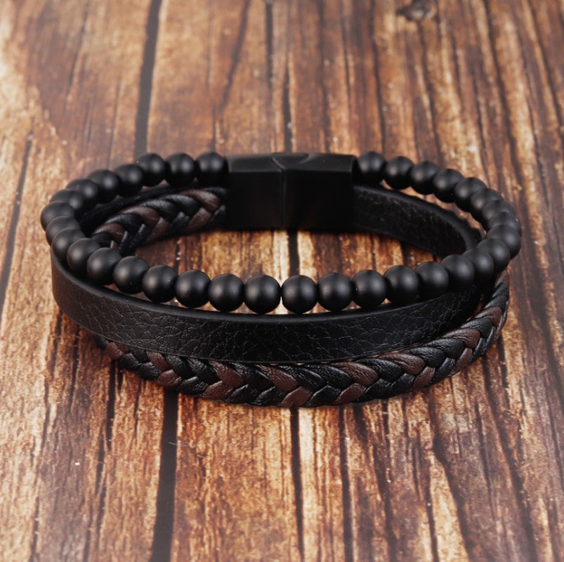 Natural Stone Volcanic Stone Skin Bracelet Stainless Steel Leather Woven Bracelet Multi-layer Men's Titanium Steel Jewelry