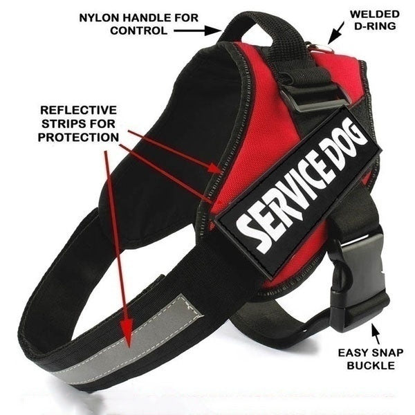 Comfortable Reflective Breathable Service Dog Vest with Hook and Loop Straps Harness Pet Training Vest (Size:XXS-XXL)