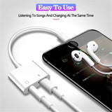 2 in 1 Dual Lightning Earphone Audio Splitter Charger Adapter Cable For iPhone