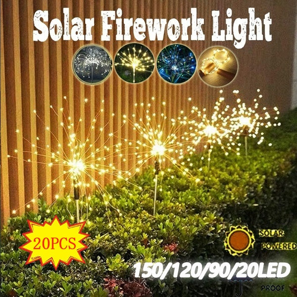 1-20PCS 20/90/120/150LED Solar Ground Fireworks Lamp Dandelion Lamp Solar Pole Explosion Ball Fireworks Light for Garden Lawn Landscape Lamp Christmas Halloween Holiday Light