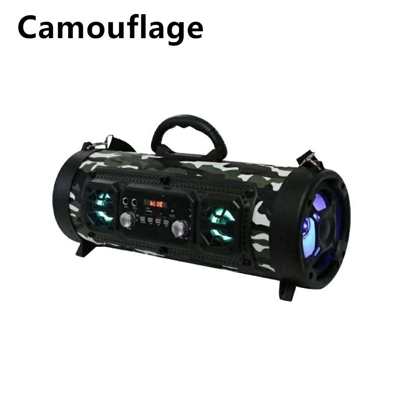 Newest !!!2023 Portable Cool LED Light Wireless Speaker bluetooth Subwoofer Loudspeaker Stereo Bass Soundbar FM USB AUX Phone Holder Boombox