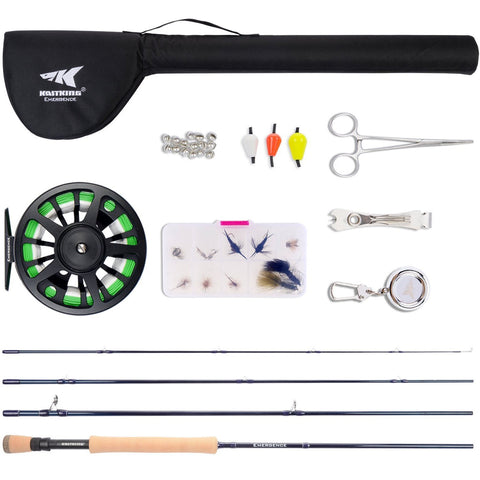 KastKing Emergence fly fishing combo with fly rod, fly reel, fly line, fly fishing tools.