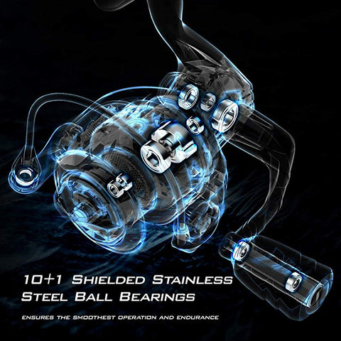 KastKing spinning reel with 10 + 1 shielded stainless steel ball bearings ensure smoothest operation and endurance