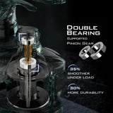 KastKing Speed Demon Elite baitcasting reels double bearing supported pinion gear.