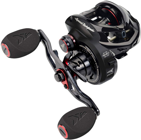 KastKing Speed Demon Elite casting reel 90 mm aluminum handle with EVA grips.