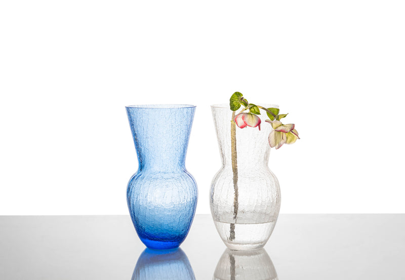 Blue and Crystal Crackle Vases on the table