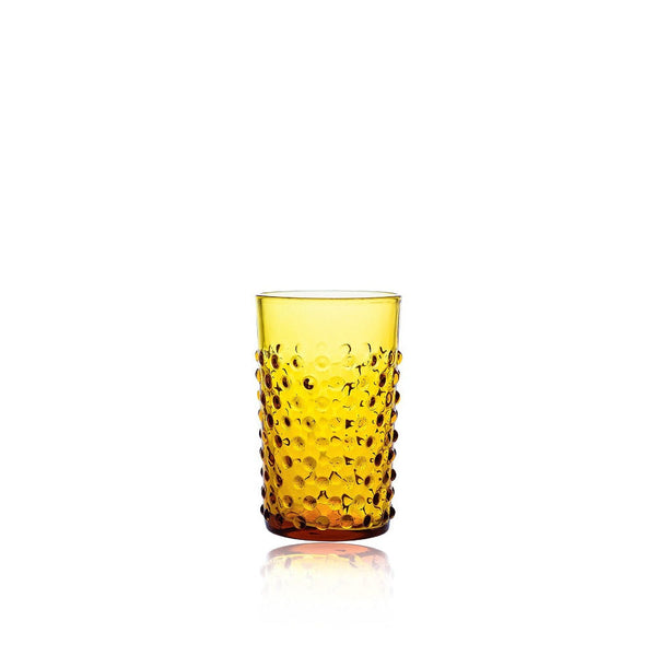 Amber Glass Tumbler in Hobnail decor