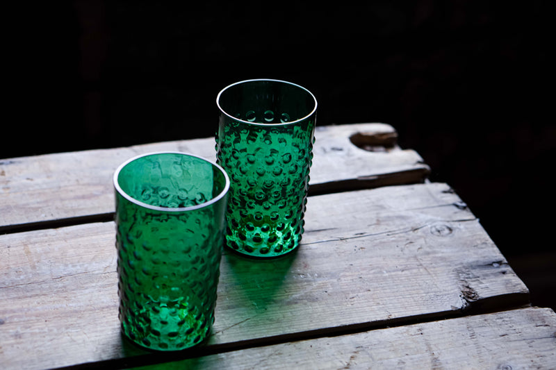 Dark Green Hobnail Tumblers on a wooden bench
