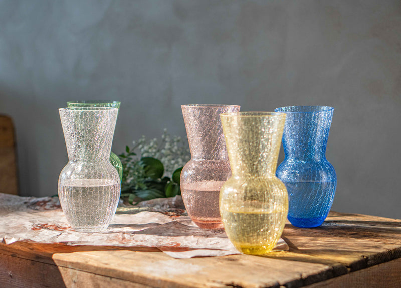 Colour Range of Crackle Vases standing on the wood