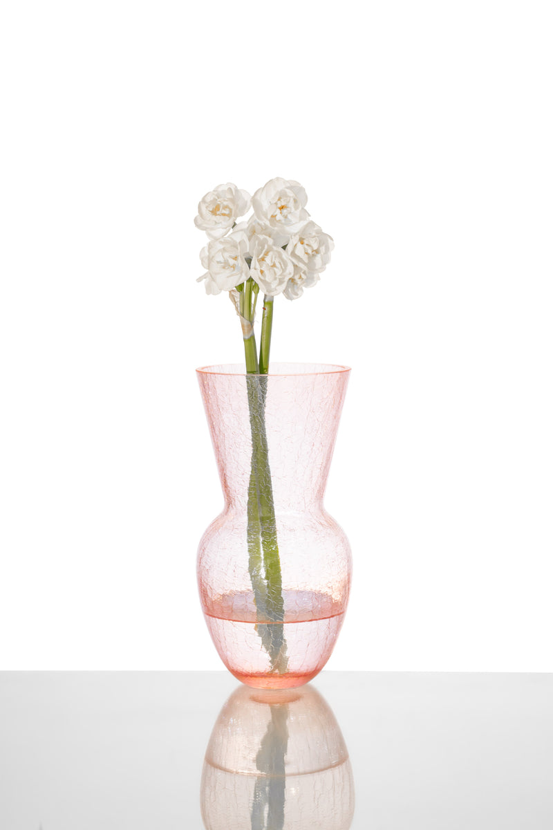 Rosaline Glass Crackle Vase with White Flower in it