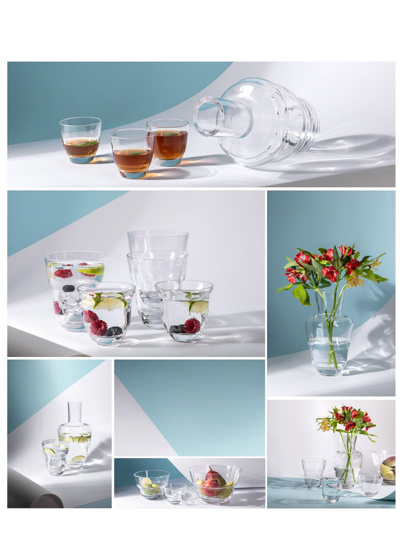 Compilation of photos of Cloudless clear drinkware from Shadows collection