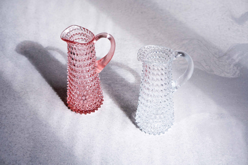 Clear and Rosaline Hobnail Jugs Tall