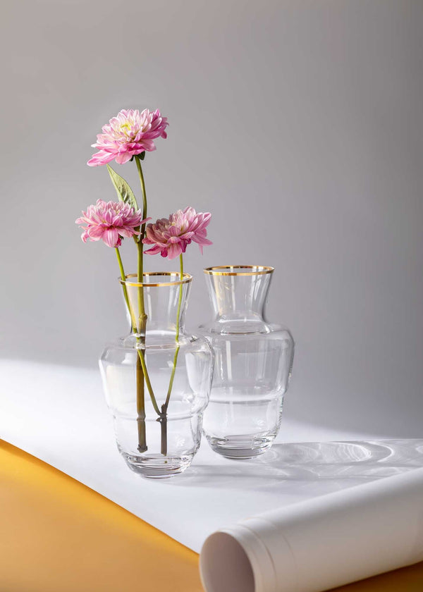 Golden Lux Shadows Vases with three pink flowers inside one