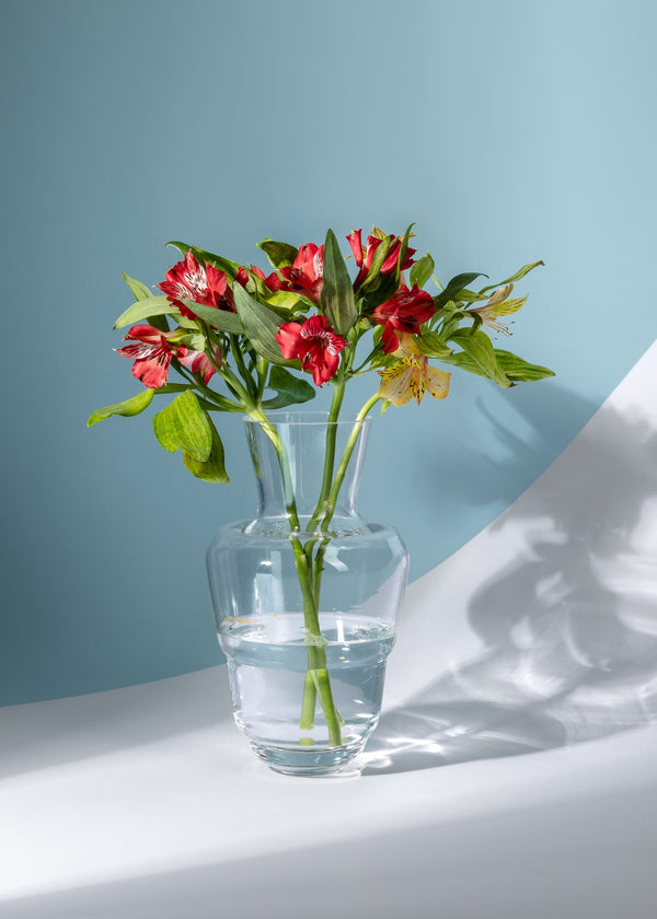 Crystal Vase with red flowers from Shadows collection on a blue-white background
